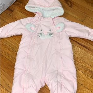 Bunny Baby Pink Baby Snowsuit NEVER WORN